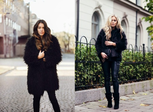 black-faux-fur-jacket-coat-outfits