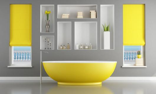 Contemporary bathroom with yellow bathtub