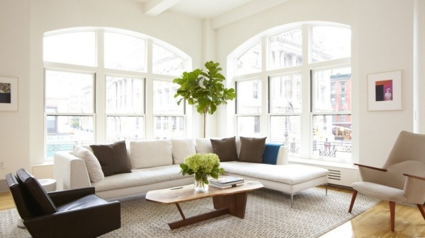Nordic-Small-Apartment-Design-With-Arch-Windows-And-Mid-Century-Upholstered-Chair